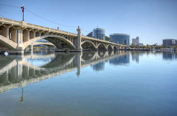 Scenic Tempe Town Lake is a popular destination for paddle boarding and kayaking