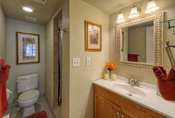 Remodeled master bath has lovely upgrades