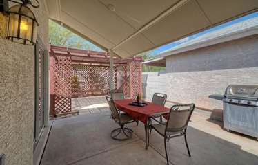 A covered patio where you can appreciate the plentiful warm and sunny days
