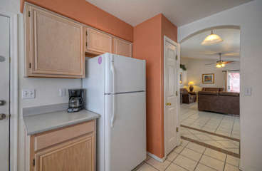 Cook will enjoy working in cheerful kitchen with all the comforts of home
