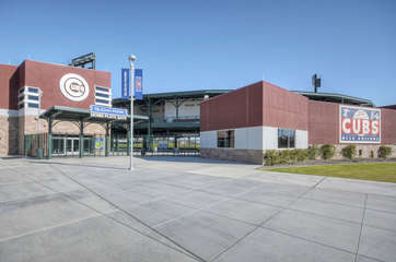 Sloan Park, home of the Chicago Cubs spring training, is a short commute from home