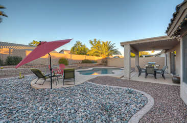 Private backyard is ideal for entertaining family and friends.