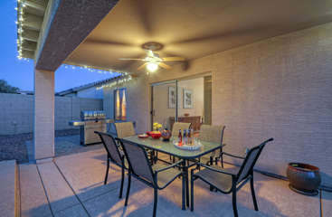 Patio seats 6 with a barbecue available for guests who enjoy grilled cuisine.