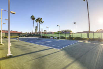 Walk to heated pool, spa and  pickle, tennis and racquetball courts in quiet and safe senior community