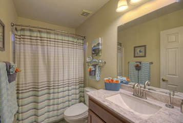 Second bath features a tub/shower combo
