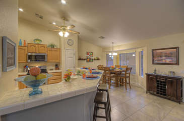 Floor plan is open and bright with  appealing decor and living spaces