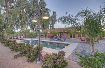 Private pool with guest option to heat offers refreshing year round dips on warm days