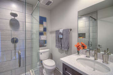 Remodeled east primary bath has a contemporary walk-in shower.