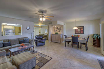 Open floor plan has tasteful decor and spacious living areas