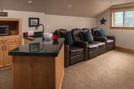 Family/Theater Room with wet bar, microwave, beverage refrigerator