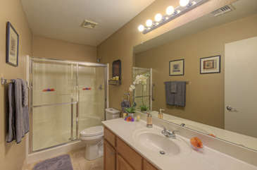 Primary bath features a large walk -n shower and new commode