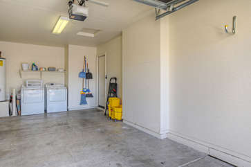 Garage will hold your vehicle plus golf clubs and other recreational gear