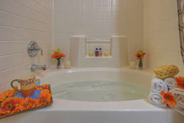 Luxurious tub in second floor master suite will delight your senses and ease tired muscles after 18 holes on the golf course or miles on mountain trails