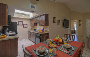 Kitchen upgrades include new cabinets, granite counters, new sink, faucet and fridge.