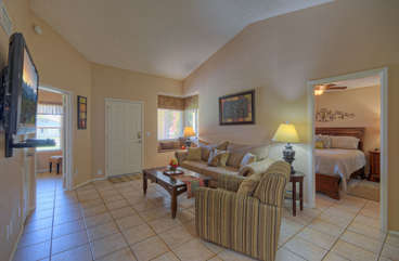 Tile floors and pretty decor throughout our home make this a comfortable retreat.