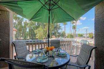 Dine and relax on charming balcony which offers picturesque views of neighborhood sights