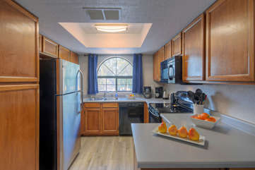 Well-stocked kitchen is a cheerful place to prepare and serve your favorite cuisine and beverages