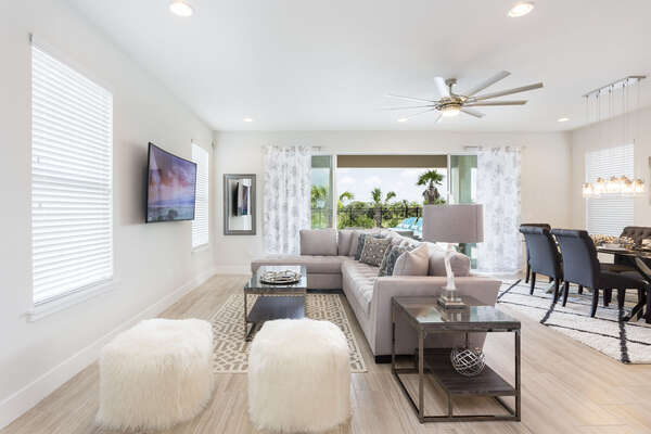 Perfectly designed open floorplan living space with luxury modern furnishings