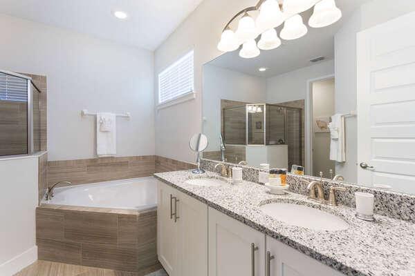 Enjoy a bubble bath in your ensuite bathroom