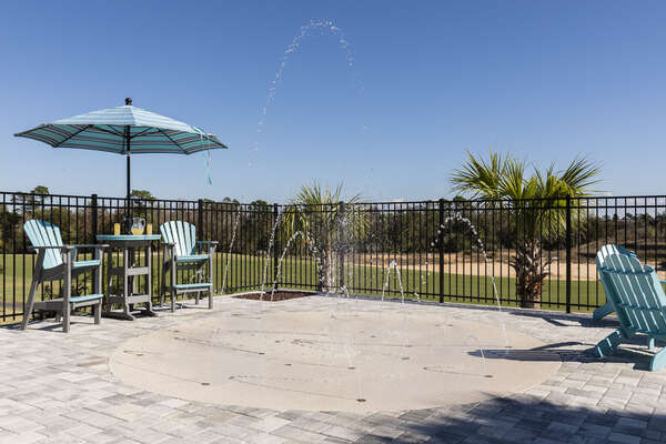 The splash pad is ideal for the little ones