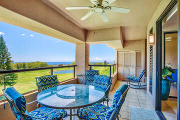 Large lanai with great views of the golf course and ocean
