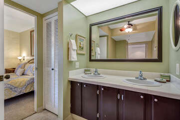 Bathroom with access from bedroom or hallway...