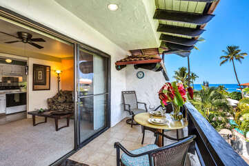 Lanai and Ocean View from our Kona Condo for Rent