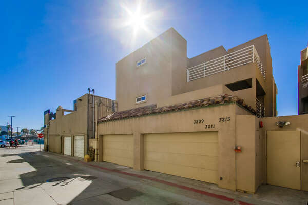 Garage parking outside this Mission Beach Vacation Penthouse