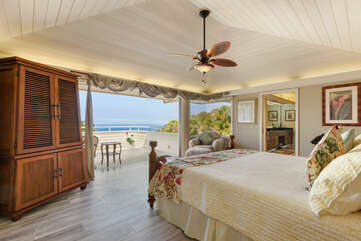 Master bedroom with King bed & ocean views