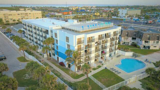 Amenities include a rooftop patio and year round heated pool with a great ocean view.