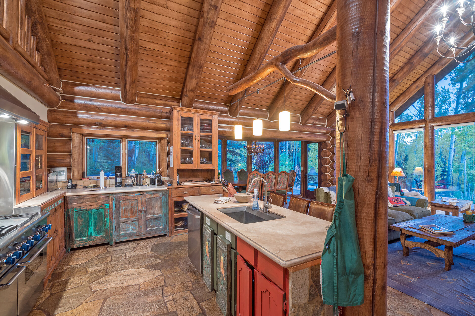 Full Kitchen at Ski Ranches Cabin with Views of the Forest