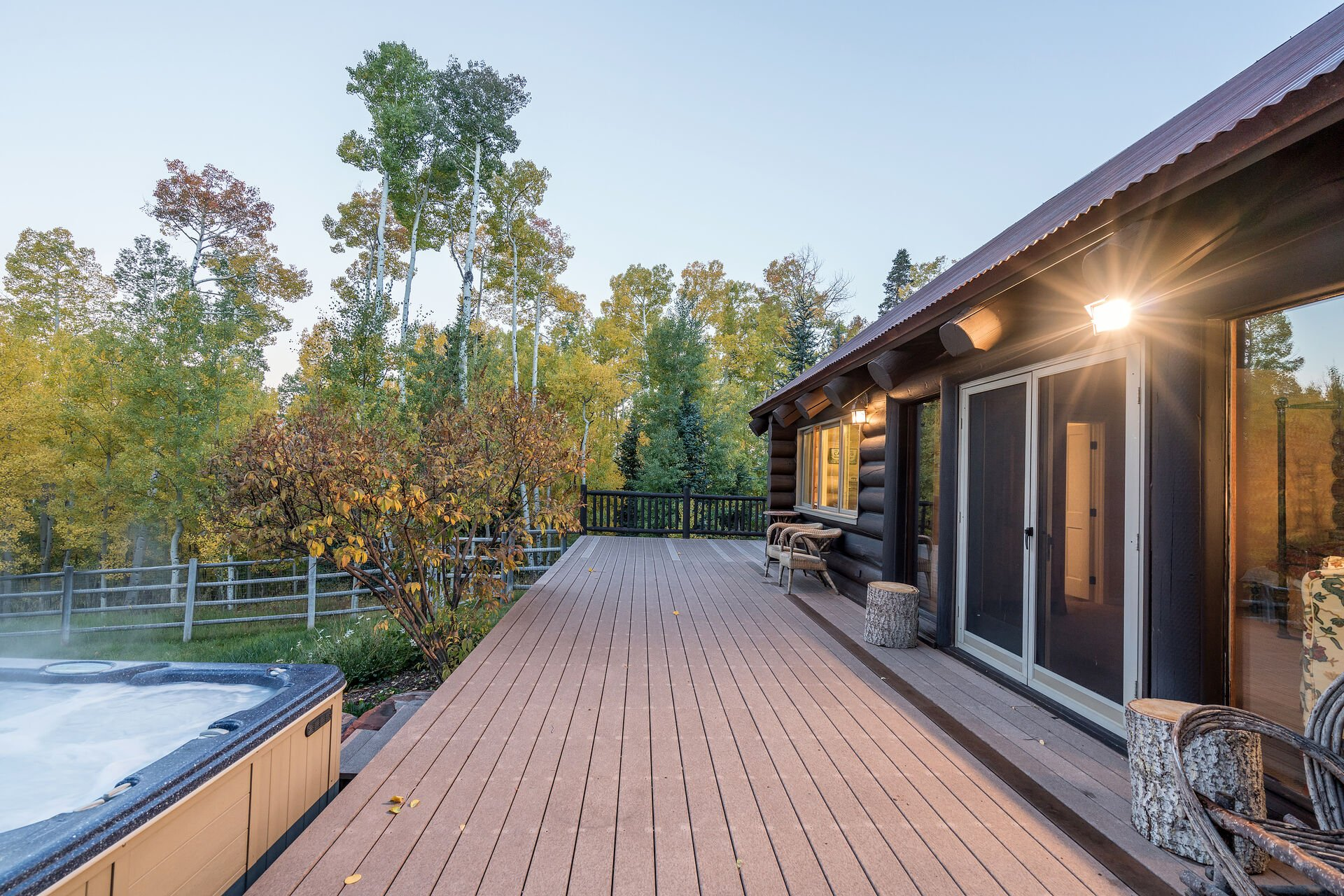 Large Wrap Around Deck with Hot Tub at Ski Ranches Cabin