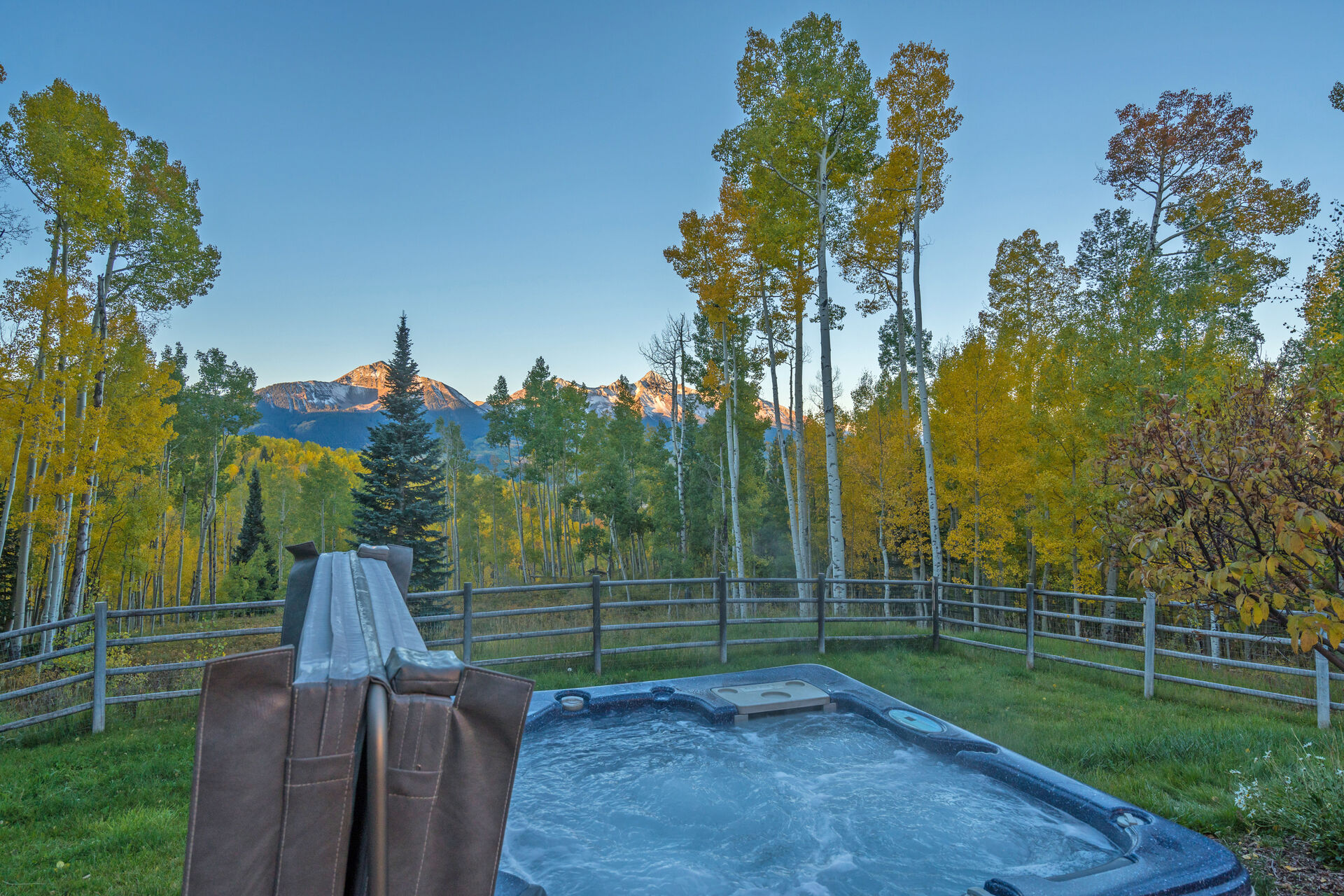 Views of the Mountains and Forest from the Hot Tub at Ski Ranches Cabin