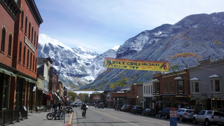 Downtown Telluride with Views of the Mountains