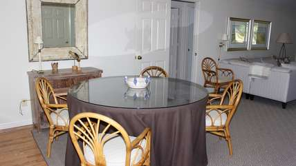 The dining area has a table for six.