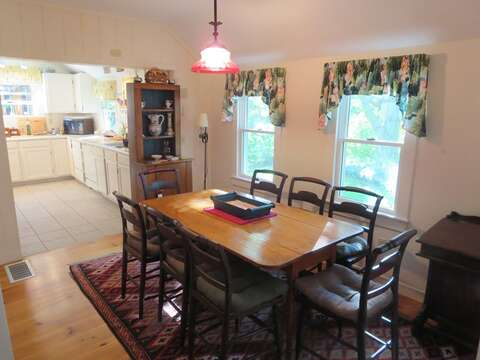 Easy access to the kitchen from the open dining area - 19 Old Cart Way Chatham Cape Cod New England Vacation Rentals
