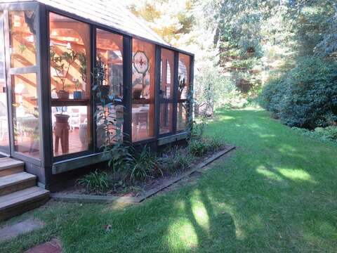 Sunroom from the outside in late afternoon - 19 Old Cart Way Chatham Cape Cod New England Vacation Rentals