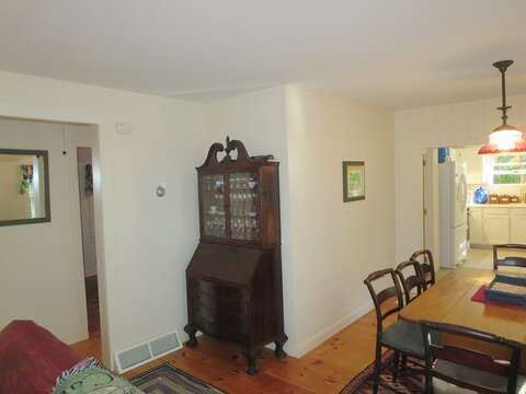 Living all on one floor. The hall off of the dining/living area offers 2 bedrooms and a full bath - 19 Old Cart Way Chatham Cape Cod New England Vacation Rentals