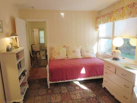 The TV room offers a Trundle (single bed). View to the hall to Bedroom #3 - 19 Old Cart Way Chatham Cape Cod New England Vacation Rentals