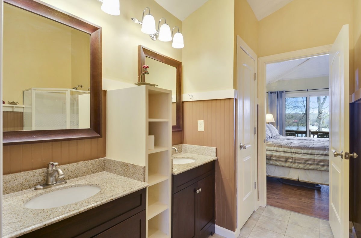 Master Bath with double vanity sink.