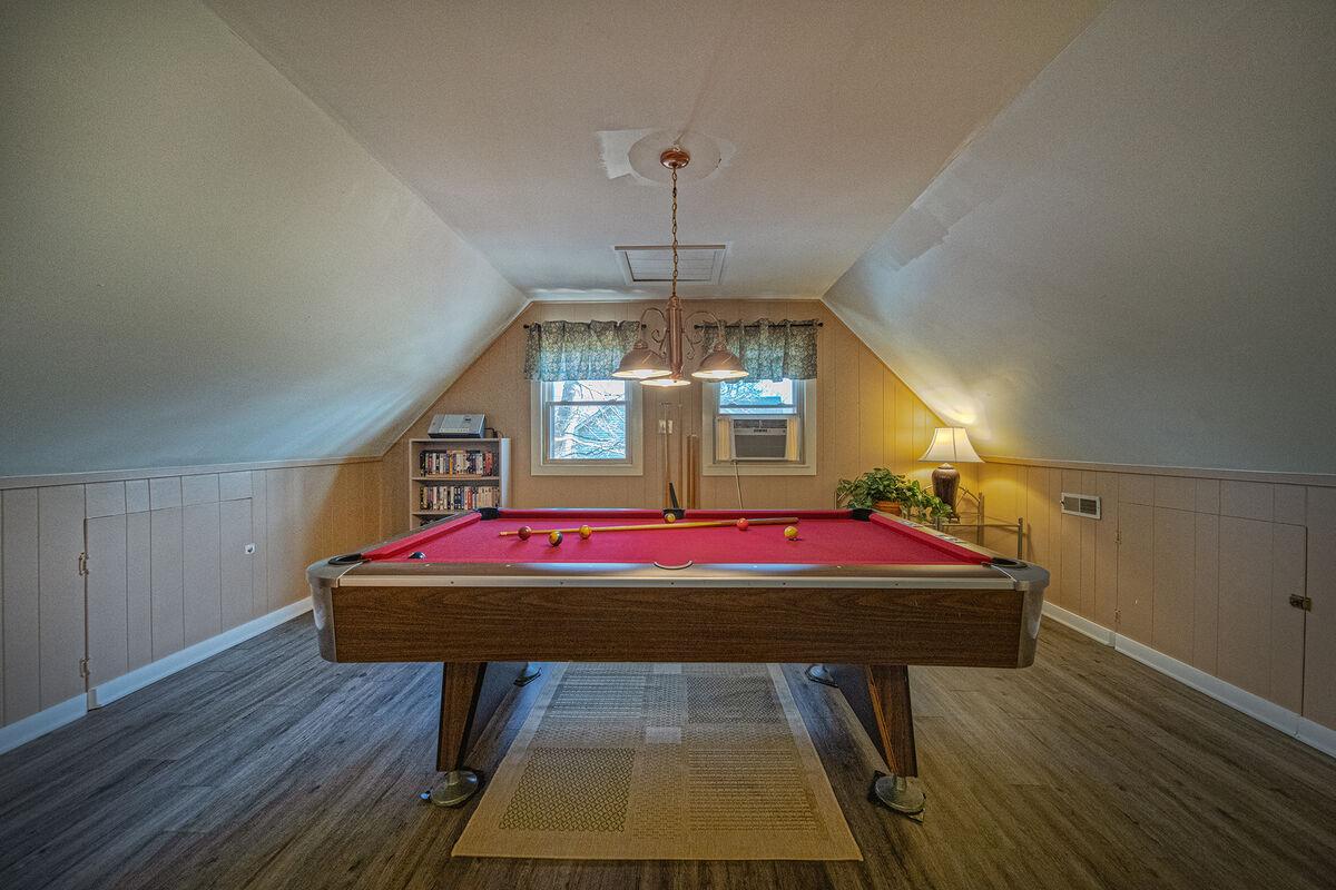 Pool table on the upper floor.