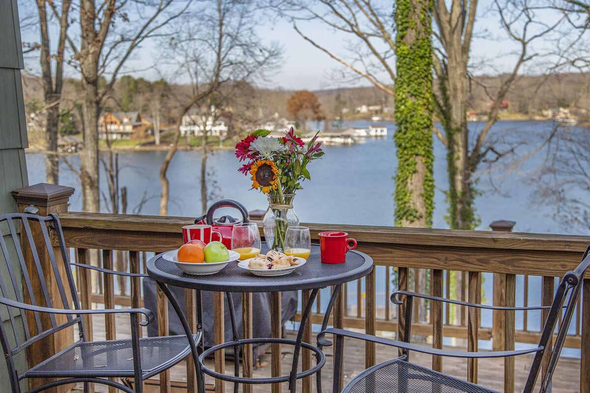 Breakfast overlooking the Lake