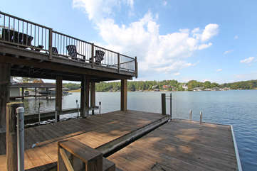 Decks and dock of this home.