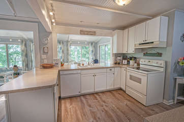 Modern appliances and counter space of the kitchen.