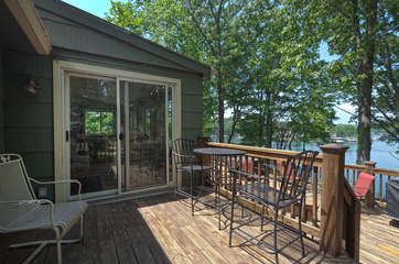 The upper deck of this Smith Mountain Lake lakefront rental.