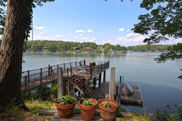 Dock connected to this Smith Mountain Lake lakefront rental.