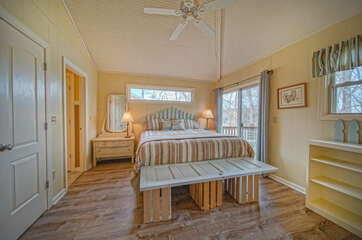 The large bed of the master bedroom.