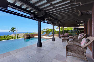 Covered Lanai Overlooking Infinity Pool..