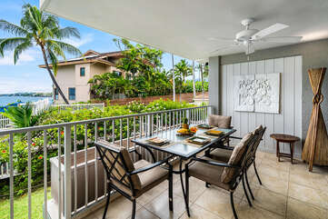Covered lanai makes a perfect spot for outside dining