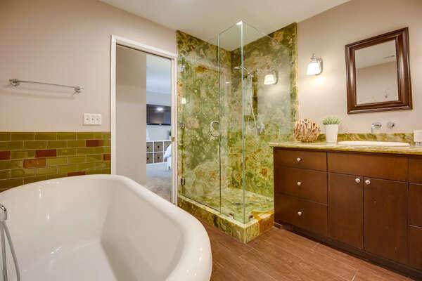 Updated vanity and granite walk-in shower